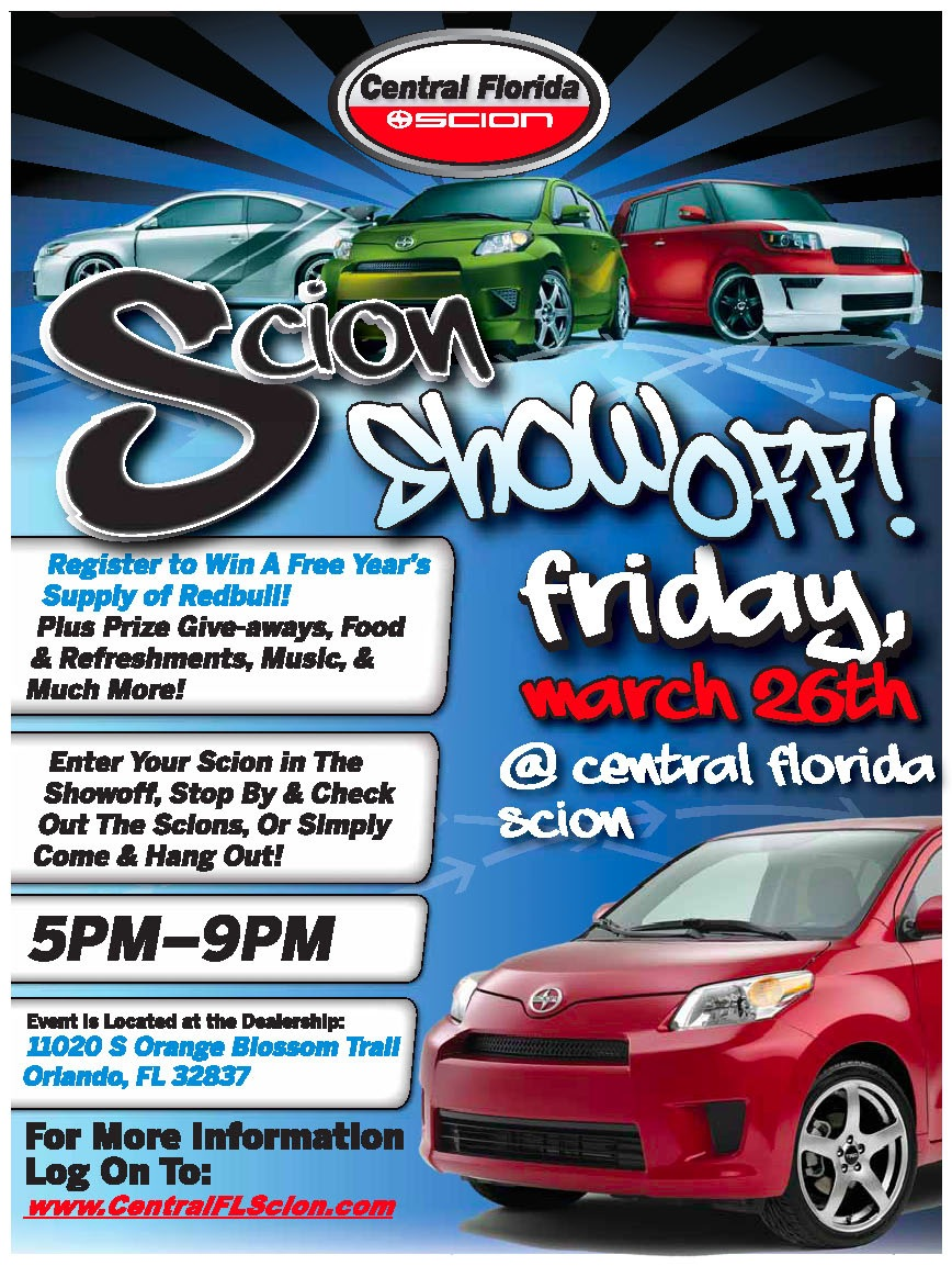 scion show off event at central florida toyota in orlando strong automotive merchandising. Black Bedroom Furniture Sets. Home Design Ideas